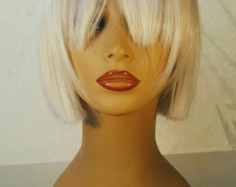 Short Blonde Bob Wig with Bangs, Short Blonde Bob, Blonde Bob Wig, Bob, Pale Blonde Bob, Light Platinum Wig, Bob with Bangs