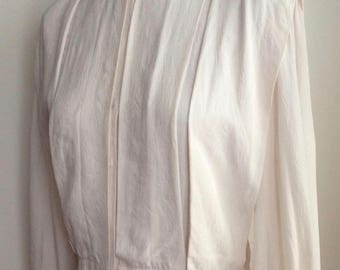 1980's Cream Silk Pleated Blouse/Chemise with Nehru Collar