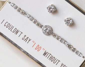 Silver Bridesmaids Bracelet and Earrings Set CZ Studs Dainty Earrings and Bracelet Swarovski Crystal Bridesmaids Jewelry Set Gifts B157E169S