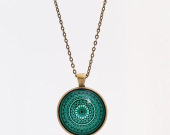 Mandala Necklace - Mandala Jewelry - Spiritual Necklace - Spiritual Jewelry - Green Necklace - Chakra Necklace - Spiritual Gift - for Women