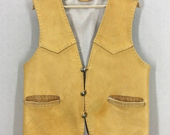 Vintage Handmade Chinook Indian Deerskin Soft Leather Vest