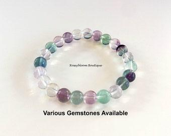 8mm Grade A Genuine Fluorite Bracelet-Fluorite Bracelet-Rainbow Fluorite-Flourite Gemstone Bracelet-Fluorite Jewelry-Natural Fluorite