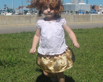 Toddler - Princess Anna Inspired Gold Brocade Silk Skirt (18-24mo)