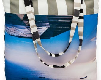 Canvas Tote Bag - Photo of Gage Roads Fremantle - Multi Stripe Back & Trim - Perfect Casual Bag for Beach, Shopping or Travelling