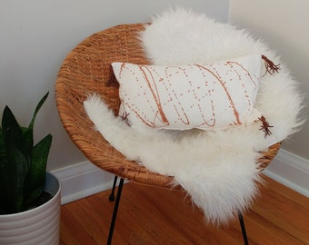 Copper metallic splatter pillow cover - handmade suede tassels - linen lumbar pillow
