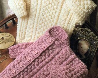 """Baby Knitting Pattern Aran Cardigan & Sweater 16-18-20-22"""" pdf"""