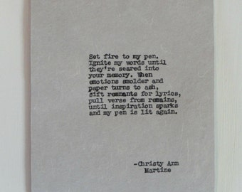 Gifts for Writers - Writing Inspiration Poem - The Blaze - Set Fire to My Pen  - Hand Typed by Author with Vintage Typewriter