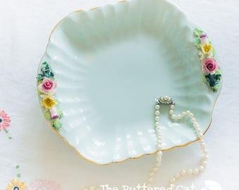 Vintage mint green English bone china jewelry and trinket dish, dresser table tray, vanity tray