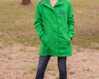 Women's Monogrammed Jacket | Logan Jacket | Fall and Spring | Hooded Rain Jacket | Monogrammed Gift | Charles River Jacket | Rain Coat