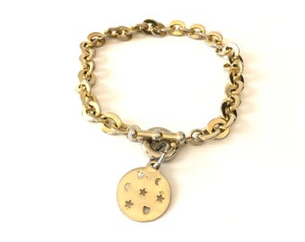 Charm Necklace. Golden pendants, Star,Moon,Heart . 1980s chunky link chain Necklace