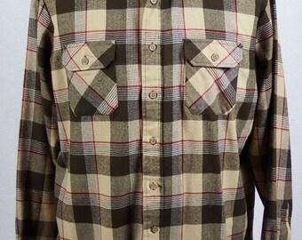 1970's Sears Vintage Long Sleeve Men's Flannel Type Shirt - Size XL