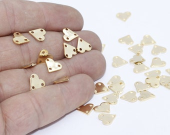 100 Pcs 22k Shiny Gold Heart Charms, 9x10mm , 3 holes Heart, Heart Coins, Stamp , Personalized , RD, MTE170