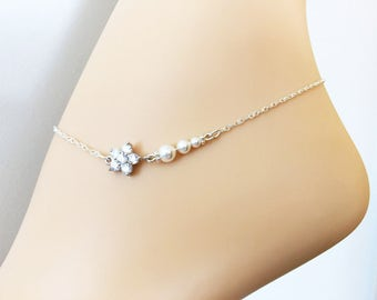 Swarovski Pearl Bridal Anklet - CZ Crystal Anklet - Sterling Silver Anklet - Bridal Accessories -Wedding Jewelry - Bridal Pearl Jewelry