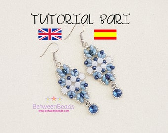 Schema Tutorial Beadwork, Earrings Pattern Beadweaving Earrings, Jewelry, Spanish and English, Superduo Beads Pearls, Seed Beads Schema Bari