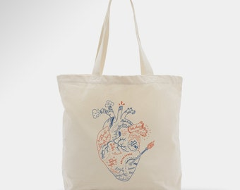 Sac en coton, tote bag, illustration cœur