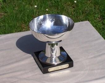 Trophy Art Deco silver plated pedestal graved black marble 1938