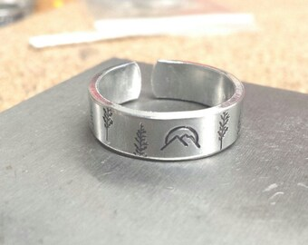 SALE Mountain Ring - Nature Jewelry - Stamped Sterling - Mountains Jewelry - Forest Ring - Hand Stamped Ring - Wilderness - Silver Stamped