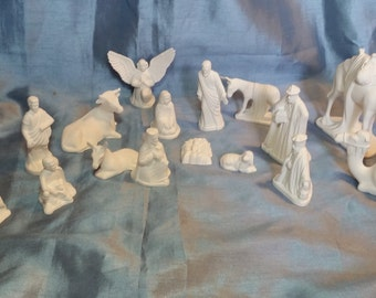 Handmade 16 Piece Ceramic Nativity Set - Unpainted Bisque