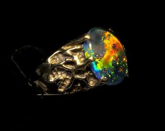 Mens opal ring Etsy