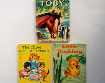 Vintage Book, Lot of 3 Books, Toby, The Three Little Kittens, Little Duckling, Rand McNally, See Description, Price Reflects Condition
