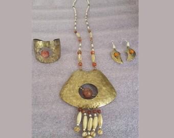 "Brass ""Florshine"" finished  necklace bracelet earring set"