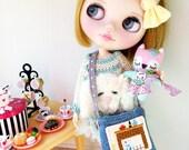 Woodland Pink Fox and Denim Crossbody Bag Set, Doll Accessories for your beloved Blythe, Pullip, Barbie, BJD, Handmade OOAK miniatures