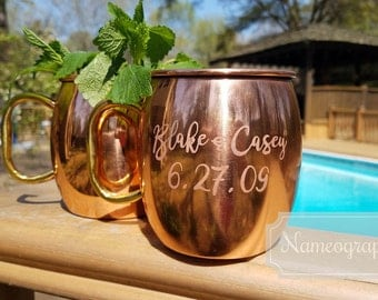 Etched Copper Moscow Mule Mug