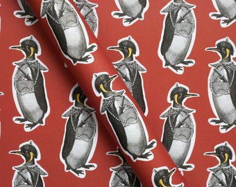 Penguin Christmas Wrapping Paper, penguin gift wrap, gift wrap set, luxury gift wrap, christmas wrap, penguins, penguin print
