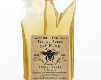Foaming Soap Dispenser Refill - Foaming Hand Soap with Citrus + Floral Essential Oils - Concentrated Refill Pouch - 5 Refills
