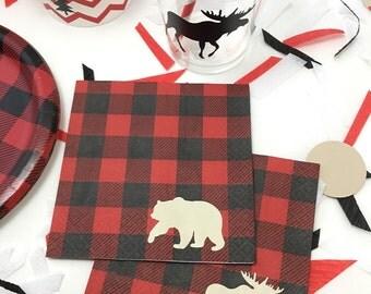 Lumberjack Napkins - Lumberjack Baby Shower - First Birthday - Lumberjack Birthday - Cake Napkins - Buffalo Plaid - Red and Black Plaid