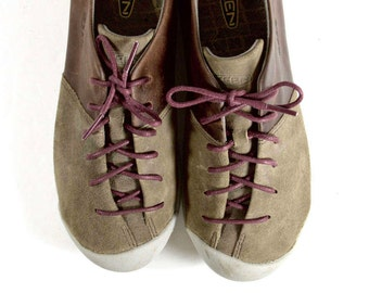 Brown Leather Athletic Shoes Womens 7 | Suede Leather Sneakers | Asymmetrical Lace Up Hipster Shoes | Two Tone Brown Walking Shoes