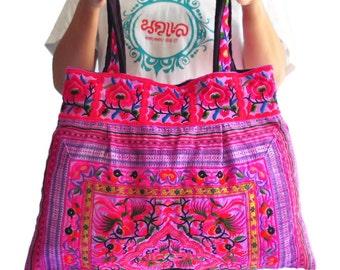 Hmong Embroidered Tote Bag Large size Hobo bag Hippie bag Bag Handbags Purse Tote bag  Boho bag Shoulder bag Women bag  Thai Cotton Bag
