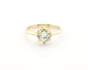 White Topaz Star solitaire ring Sterling Silver or 14K Gold, engagement ring, non diamond ring, promise ring, unique engagement ring