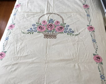 Vintage Hand Embroidered and Appliqué Bed Spread Twin Size Coverlet
