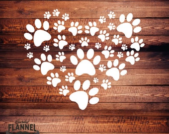 Paw Print Heart - Car Decal, laptop decal, window decal- BF-D1039