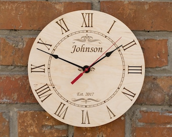 Anniversary Clock, Personalized Family Clock, wedding date clock, couples gift, anniversary gift,  wedding decor, engraved clock