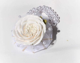 White rose wrist corsage Flower rose corsage  Flower rose accessory Flower bracelet white flower corsage Foam flower