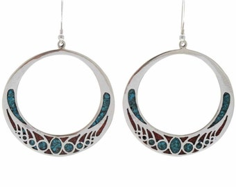 Turquoise Coral Circle Earrings Navajo Silver Inlaid  French Hooks