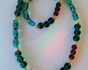 Long Teal Beaded Necklace