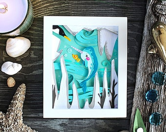 Paper Cut Art, Paper Cutting Art, Papercut Art, Papercutting, Narwhal Gift, Narwhal Art, Unique Gift, Penguin, Fish Art, Whale, Animals