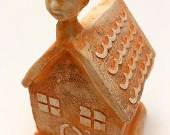 Miniature Orange House with Child