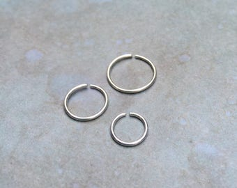 Small silver hoop earrings, Sterling silver nose ring, Hoop silver cartilage hoop, silver septum ring, 6mm 20g 22g nose hoop 8mm 10mm