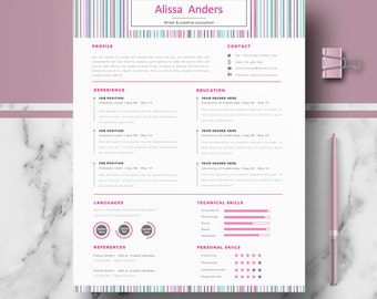 Creative CV; Resume Template, Modern CV Templates for Word & Pages; CV, Resume; Cover Letter; icons; tips | Instant Download Resume Template