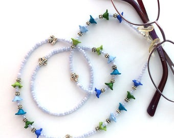 Blue and Green Flower Beaded Eyeglass Chain - 63