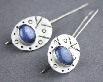 Stamped Silver Earrings with Bezel Set Gemstones, Oval Cabochon Threader Earrings