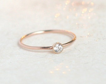 ROSE gold ring. birthstone stacking ring. cz diamond stacking ring. ONE delicate stackable minimalist ring. mothers ring. 14k gold filled.