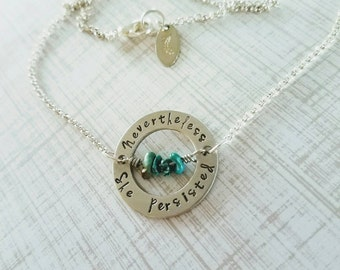 Nevertheless, she persisted. Handstamped political message necklace feminist jewelry Elizabeth Warren nasty women well behaved women history