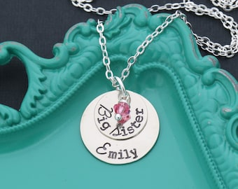 Big Sister Necklace Little Sister Necklace • Big Sis Gift Big Sister Gift • Big Little Gift Sorority New Sibling Sister Friend