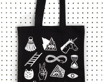 STRANGE DAYS  Screen Printed Canvas Black Tote Bag