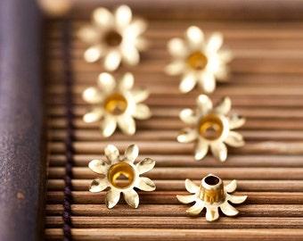 Vintage Bead Caps Golden Brass Flower Petal Rivet Bead Caps 12mm